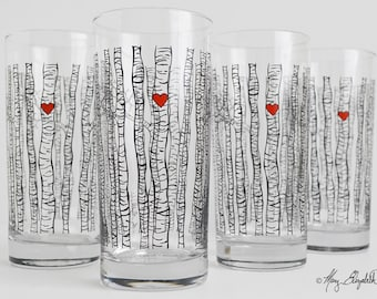 Birch Tree Glassware - Set of 4 Everyday Water Glasses, Birch Tree Glasses, Birch Trees, Birch Tree Glass, Birch Tree Wedding Glasses