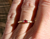 Solitaire - 10k Gold Ring with Genuine Ruby