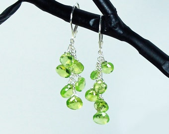 Green Peridot Earrings, Peridot Dangle Earring, August Birthstone, Sterling Silver Leverbacks