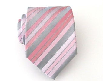 Mens Tie Silver Gray Pastel Pink Blush Stripes Necktie With Matching Pocket Square Option