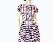 SALE! Cutie Pie 50s Dress XS, 50s Shirtwaist Dress, Girly Pink Rose Print Cotton Dress, Adrian Tabin, Petite Extra Small