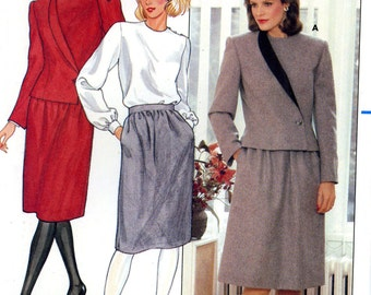 Butterick 6070 Asymmetrical Suit Jacket Top and Skirt Size 10 Uncut Vintage Sewing Pattern 1980s