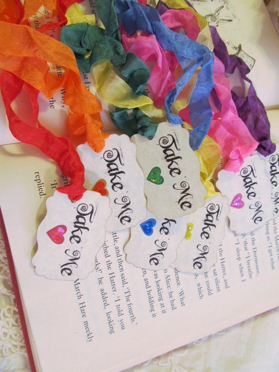 Alice Take Me Tags Party Favor Tags w/ Rainbow ribbons - Rainbow Sparkle Hearts - Alice in Wonderland Party Shower -Set of 18- Looking Glass