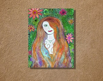 Flower Girl Large Watercolor Mosaic Painting 22 x 30