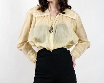 SALE- Pale Yellow Top Antique Blouse EDWARDIAN