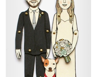Paper Doll Portraits for Wedding, Engagement, or Anniversary Gifts