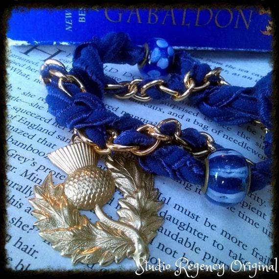 Outlander Bracelet - Diana Gabaldon Inspired - Outlander Jewelry - Outlander Theme Bracelet - Thistle Bracelet -  Scotland Bracelet