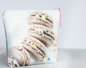 Large linen cosmetic bag- Unique Toiletery pouch with water resistant lining- wet bag featuring my macaroons in chocolate and mint print