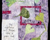 Cascading Ginkgo Leaves Modern Art Quilt Wall Hanging |  Purple & Red Batik   The Righteous Will Thrive Like A Green Leaf - Proverbs 11:28