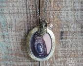 Owl Locket - bird necklace jewelry with owl art pendant