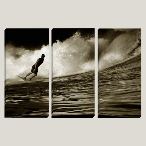 Surfer Large Canvas Art, Photography, Nautical, 3 Panel, Surfboard, Costa Rica,  Surfer, Waves, Sepia, Ocean, Water, Barrel, Coastal, Sea