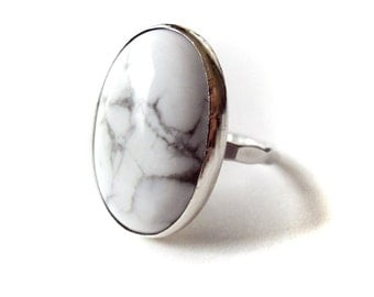 Big White Turquoise Sterling Silver  Ring - 18x25mm - Large White Ring - White and Silver Ring - 925