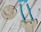 Baby Boy Suspenders Hat Bow Tie Diaper Cover Infant boys Photo Prop Crochet Outfit