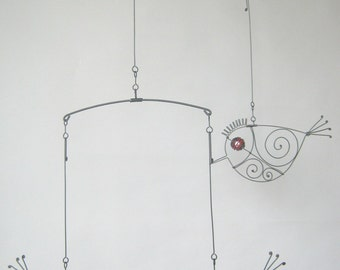 Bird Mobile / Wire Mobile Sculpture / Three Small Swinging Red - Eyed Birds