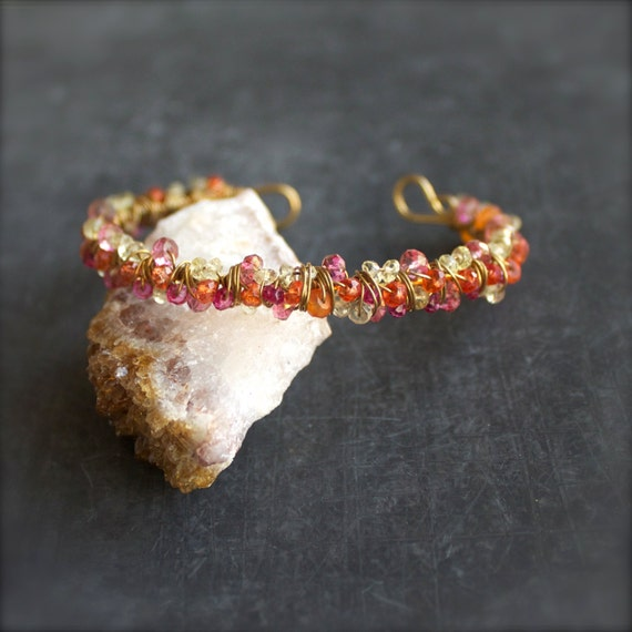 Pink Orange Wire Wrap Cuff Bracelet Mystic Quartz Gemstone Gold Brass Beadwork Boho Jewellery