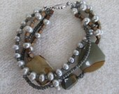MUDPIE Bracelet With Freshwater Pearls, Safari Jasper, Swarovski Crystals, Czech Glass & Sterling Silver Multi-Stranded OOAK