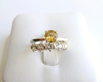 Wedding Ring Set Citrine White Topaz Sterling Silver Made To Order