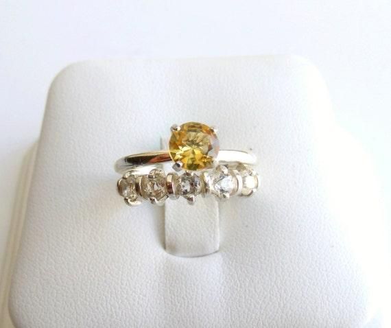 Wedding Ring Set Citrine White Topaz Sterling Silver Made To