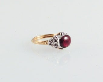 Garnet Filigree Ring - made with recycled 14K gold