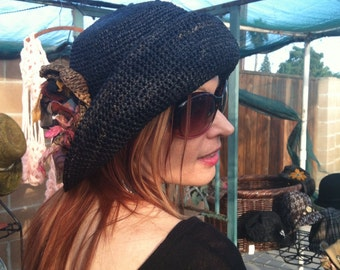 Crocheted Packable Small Brim Travel  Sun Hat