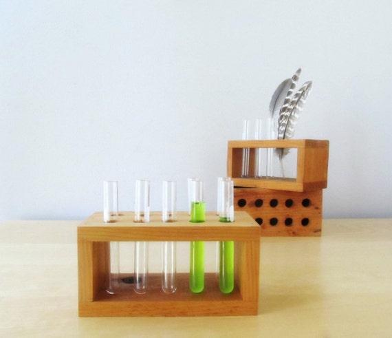 Vintage Wood Test Tube Rack Spice Rack Glass Test Tubes Desk