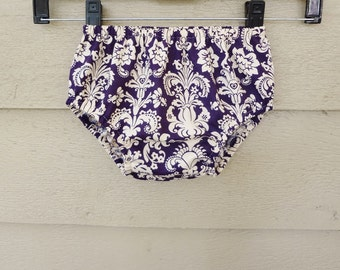 Bloomers 0-24 months Cotton Diaper Cover Dark Plum and Ivory Damask