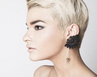 Lace earring - EAR SPIKE - Black lace with silver (single earring)