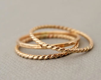 Gold Rings 3 Gold Filled Rings hammered and twist Gold Jewellery choose your size