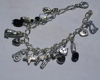Crazy Cat Lady Charm Bracelet Black Silver Cat Lover Cat Charm Bracelet