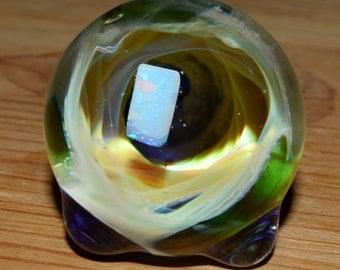 Encased Raw Opal Trippy Iridescent Vortex Sculpture - Handblown Glass