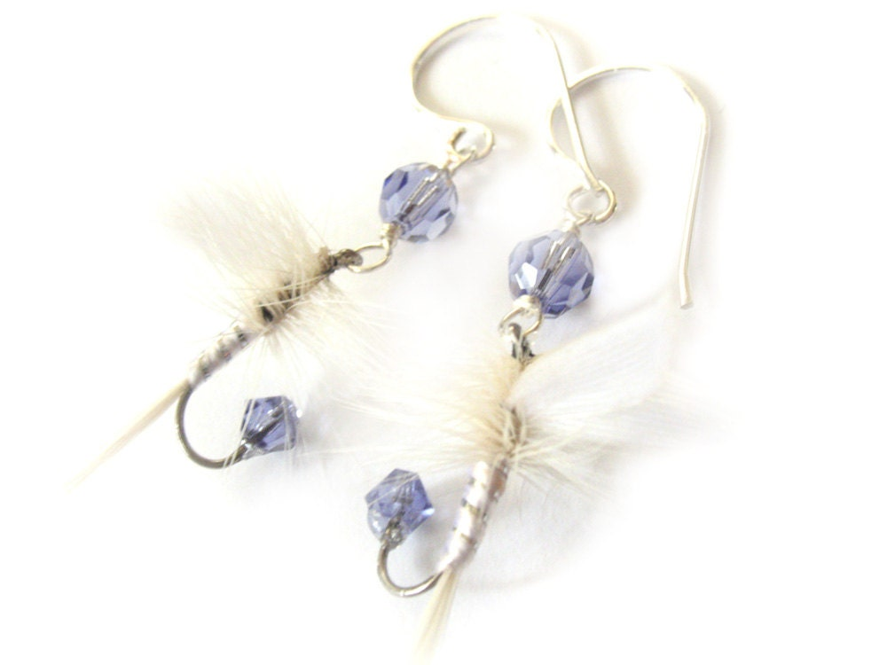 fishing lure earrings fishing lure earrings light purple and white fly 8325