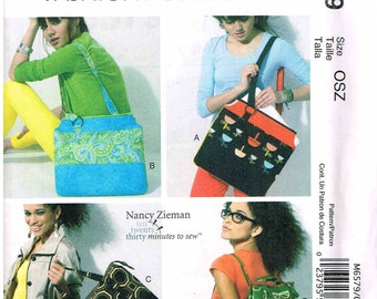Hand Bag Lined Tote Purses Nancy Zieman McCalls 6579 Sewing Pattern Fashion Accessories