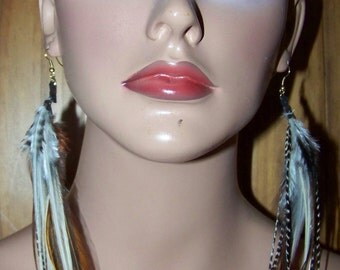 Feather earrings, Long Feather Earrings, Real Feathers, Brown feather earrings, Feather Extensions, Feather Hair Extensions, Feather Hair