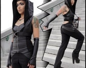 Salem, hooded mini vest with adjustable harness belt by Plastik Wrap.