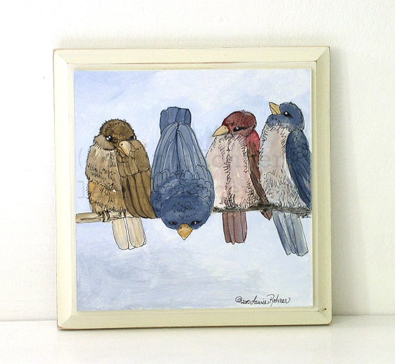 Birds Nature Art Original Mix Media Illustration Painting