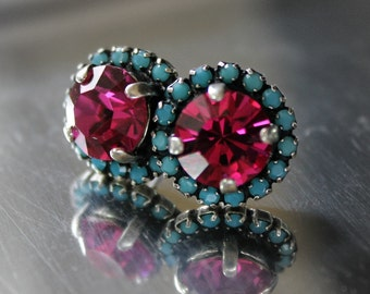Fuchsia Swarovski Crystals Framed with Turquoise Halo Crystals on Antique Silver Post Earrings
