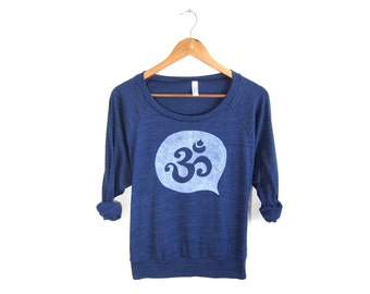 Om Sweatshirt - Oversized Lightweight Long Sleeve Pullover Raglan Sweater in Midnight Blue & White - Women's Size S M L