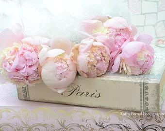 Paris Peony Photograph, Pink Peonies, Paris Pink Peonies, Paris Peonies Decor, Shabby Chic Decor, Paris Peonies, Pink Peony Wall Art Prints