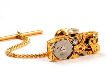 Steampunk Antique Gold Lucien Piccard Watch Movement Tie Tack Pin Chain Clip