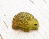 Little Green Turtle bead - Sleepy Woodland Critters hand painted forest animal bead (ready to ship)