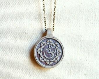 Lotus flower necklace om symbol pendant mandala jewelry mantra necklace gift for yogini yoga necklace