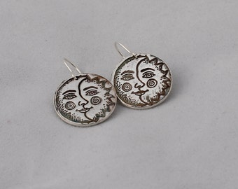 Sun Moon Face Precious Metal Clay PMC  Fine Silver Earrings Sterling Silver Earwires -Celestial Free Shipping