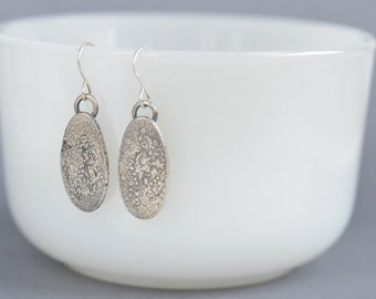 reticulated oxidized textured oval  sterling silver earrings ready to ship