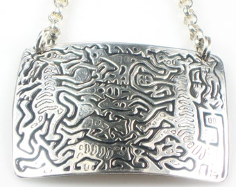 Kuna Indian Spirit Creatures - Fine Silver Necklace with Rolo Silver Chain