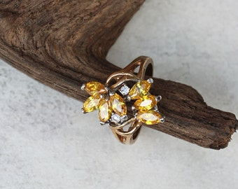 Yellow Crystal Cluster Cocktail Ring, Vintage Women's Multi-Stone Statement Dinner Ring, Size 8.5