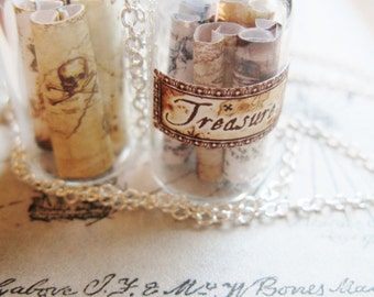 Pirate Treasure Map Necklace -  Miniature Messages in a Bottle -