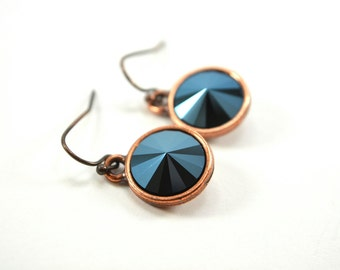 Copper Metallic Blue Earrings Circle Drop Earrings Midnight Blue Crystal Antiqued Copper