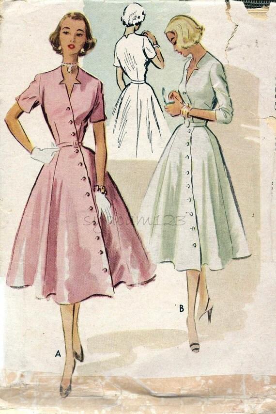 vintage 1950s diagonal button front dress star cutout neckline