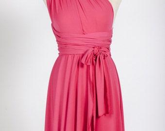 Short pink dress, short infinity dress, fuchsia jersey dress, infinity bridesmaid dress, infinity dress short, bright pink bridesmaid dress