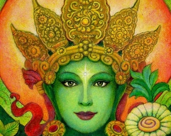 Green Tara Buddha poster spiritual art Buddhist Goddess meditation PRINT of painting by Sue Halstenberg